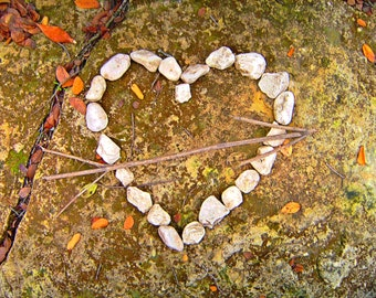Wooden Arrow through Stone Heart Photography, Nature Photography, Green and Beige, Stick Arrow, Mossy Stone Rock Heart