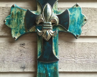 Cream and Teal Cross