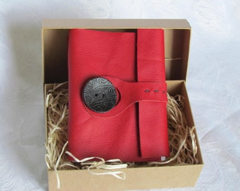 Hand bound A6 red leather book