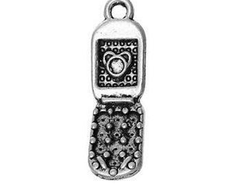 Mobile Phone Charm/Pendant. Tibetan Silver Tone x 6