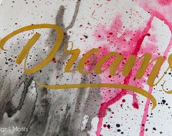 """Original """"Dreams"""" Watercolour, Typography, Painting - Home decor, Artwork, Calligraphy"""