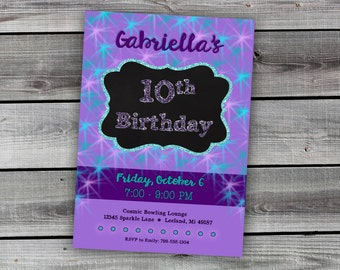 10th Birthday Invitation ~ Glitter Purple & Teal