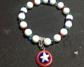 Captain America inspired stretch bracelet