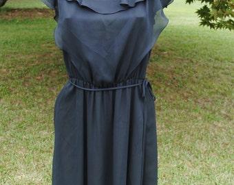 1970s Black Dress beautiful ruffled neckline