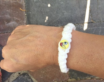 Cotton Braided Bracelet with emoji bead  FREE SHIPPING