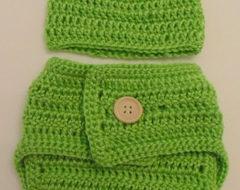 Baby Crochet Frog Set ** Hat and Diaper Cover ** Photo Props ** Baby Gift