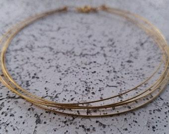 Five Layer Gold Thin Bar Choker