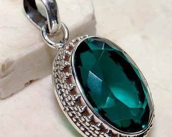 10CT Apatite 925 Solid Sterling Silver Detailed Design Pendant 1 1/4'' Long ~ Also comes with Sterling Silver Chain