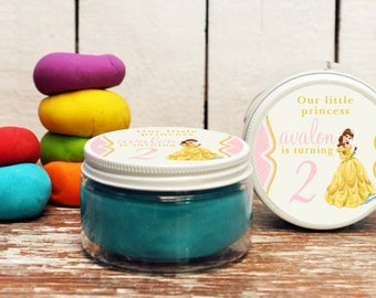 Set of 6 -  Belle Party Favors // Belle Birthday Party Favors // Play Dough Party Favors // Belle Birthday Party // Belle Label