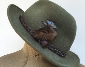 1OO % Wool Khaki Green Trilby Hat // Fedora