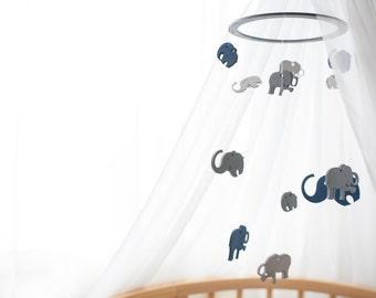 Wooden baby Mobile elephant, Nursery Mobile, Woodland Mobile, Baby Mobile, elephant nursery