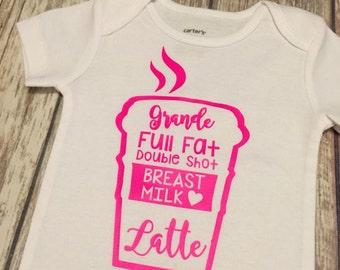 Breastfeeding Onesie®, Grande Full Fat Breast Milk Latte Onesie®, Breast Milk Latte Onesie®, Breastfeeding Shirt, Funny Baby Onesie,
