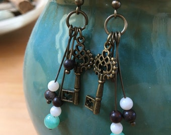 Brass Key and Turquoise Stone Earrings