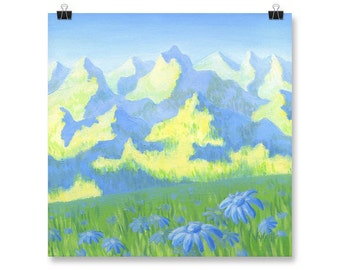 "Mountain Fine Art Landscape Print of Acrylic Painting, Blue, Green, 10x10"", 12x12"""