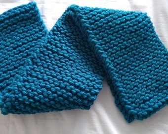 Super chunky turquoise knitted scarf
