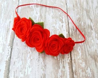 Red Rose Headband, wool felt flower Headband, girl flower headband