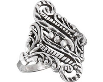 Silver Victorian Filigree Statement Ring