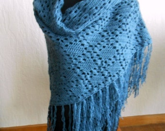 Large handcrocheted blue shawl, wrap stole with fringes