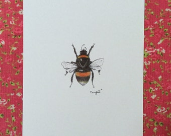 Bee print, wall art, insect wall art, bee drawing, bee sketch, bumblebee print, bee art