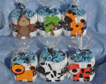 Safari Mini Diaper Cake Set of 6 Baby Shower Decor/Centerpiece/Favor