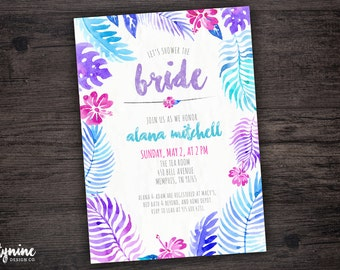Tropical Floral Bridal Shower Invitation with Bright Watercolor Flowers and Leaves