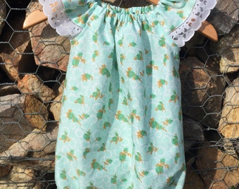 Size 1 Seaside playsuit with flutter sleeves