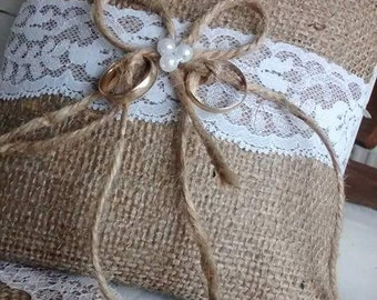 Hessian hand made  ring pillow