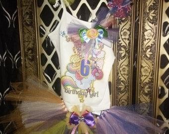 Candy Land CandyLand Colorful Rainbow Tutu Hairbow Edible Bracelet Set