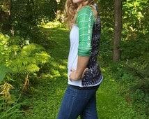 Football raglan: customized women's playbook & yardline white and green top