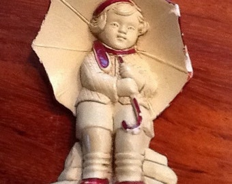 CHALKWARE Wall Decor 1920-1930 Kitsch Wall Art Girl with Umbrella