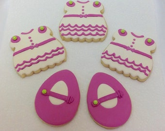 Baby Girl Dress or Shoe Cookie Favors - Set of 6