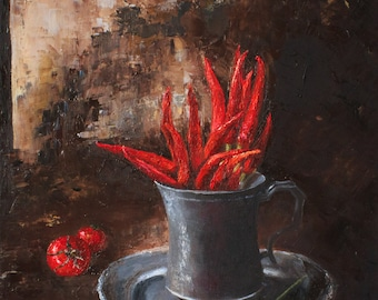 Pepper flame, paprika, still life, tomatoes