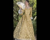 Yellow gold Elizabeth Swann 18th c Dress Halloween Renaissance Medieval Costume Clothes Clothing. Made to fit: Small to Plus Size