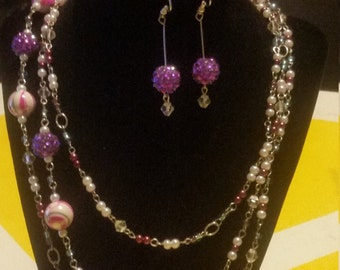 Extra long purple, white and silver necklace