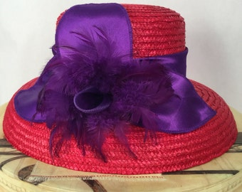 Red Straw Hat with Big Purple Bow