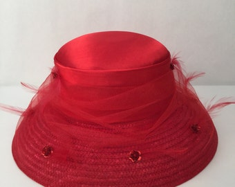 Red Cloche Hat