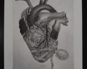 Charcoal Anatomical Broken Heart