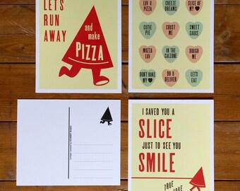 Set of 3 pizza postcards