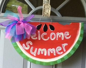 Watermelon Wood Door Hanger Welcome Summer