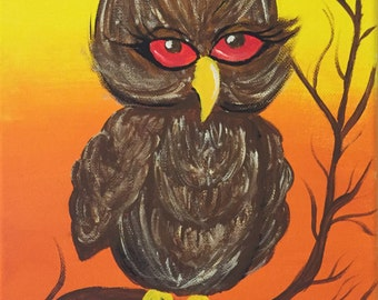 8X10 Hoot Owl at Susnset Acrylic Painting