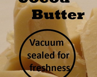 Organic Cocoa Butter, 1 OR 2 lb size, Virgin Unrefined & Vacuum Packed Cacao Butter (Chocolate Aroma) Fresh + Pure, FAST SHIPPING