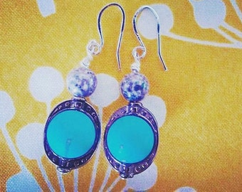 Turquoise and gray dangling earrings <3
