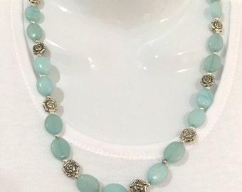 Aquamarine and beaded necklace