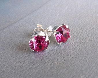 "Swarovski Crystal 925 Silver earrings and ""Fuchsia"""