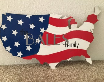 Hand Painted American Flag