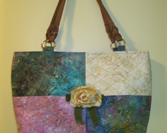 Quilted Four Patch Batik Tote Bag