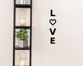 Vertical Love Decal, Love wall decal, love wall sticker, love with heart, decals for home, heart decal, love wall art, gift for her