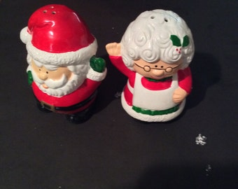 Vintage Mr and Mrs Xmas salt & pepper shakers