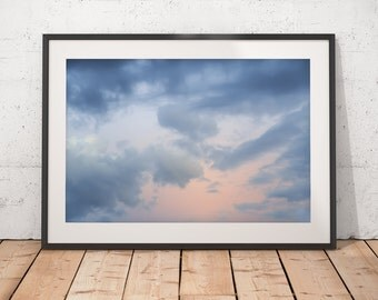 Blue and Orange Sky Abstract Art, Sunset Clouds Photograph, Delicate Colors, Printable Wall Art, Digital Download