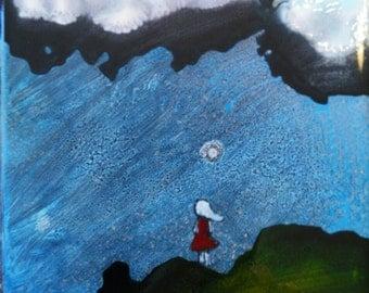 Girl In Red Dress - Man in Moon